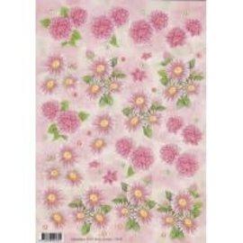 3D knipvel - Anne design - roze bloemen chrysanten 2475