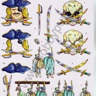 3D knipvel voorbeeldkaarten piraat 2173