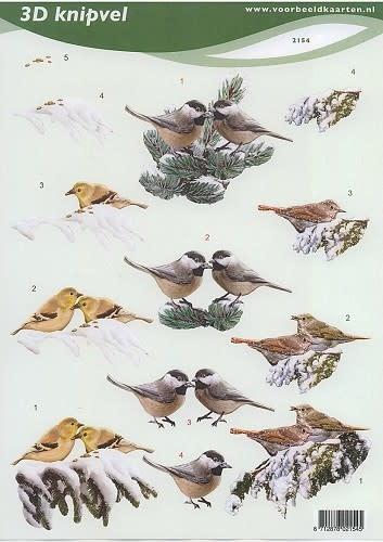 3D knipvel VBK 2154 winter vogels