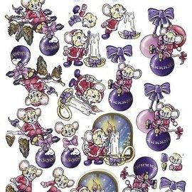 3D Knipvel - Yvonne Creations - Colourful Christmas - Christmas Mice