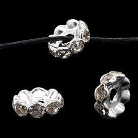Metalen kralen rondel met strass 10x4mm zilver