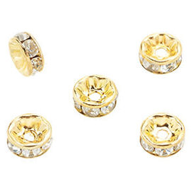 Brass kralen rondel met strass 8x3,5mm goud