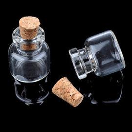 Glazen flesje met kurk ± 23x16mm (mogelijk om te openen)