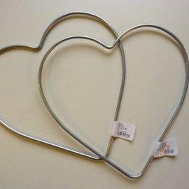 Metalen hart 20cm zilverkleurig