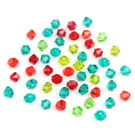 Mix glas kristal kralen konisch facet geslepen met mooie glans 4mm (50 st.