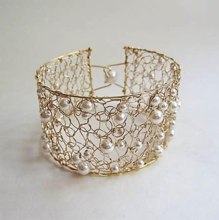 Metalen cuff armband bangle (binnenmaat ± 15cm), ± 4,5cm dik  (2st)