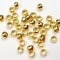 Doosje knijpkralen (100) goud 2.5mm
