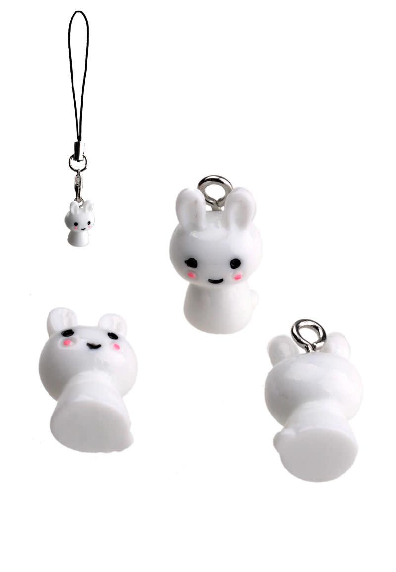 Kunststof hangers/bedels konijn 17x10mm