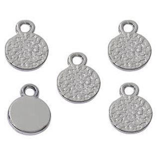 Metalen naam label hangers/bedels rond 10x8mm (10st) blacknickel