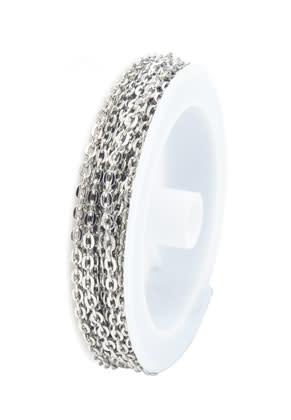 Metalen ketting met 4x3mm schakels (per meter)