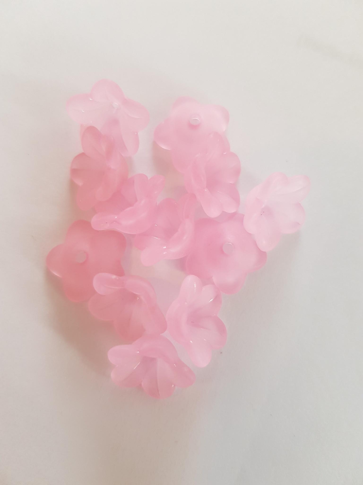 Donkerroze bloemkapjes 13mm (63x)