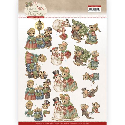 3D knipvel- Yvonne Creations - Have a Mice Christmas - Christmas Carol