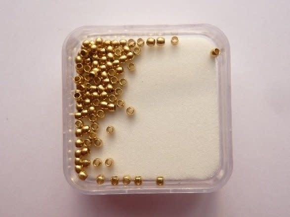 Doosje knijpkralen 1mm goud