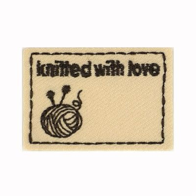 Applicatie Knitted with Love 45x30mm beige