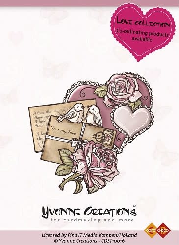 Yvonne creations clear stempel love collection vintage heart