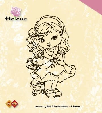 Card Deco - Clear stamp - Helene met hondje