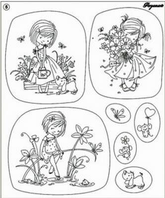 Clear Stamp Pergamano Flower Girls