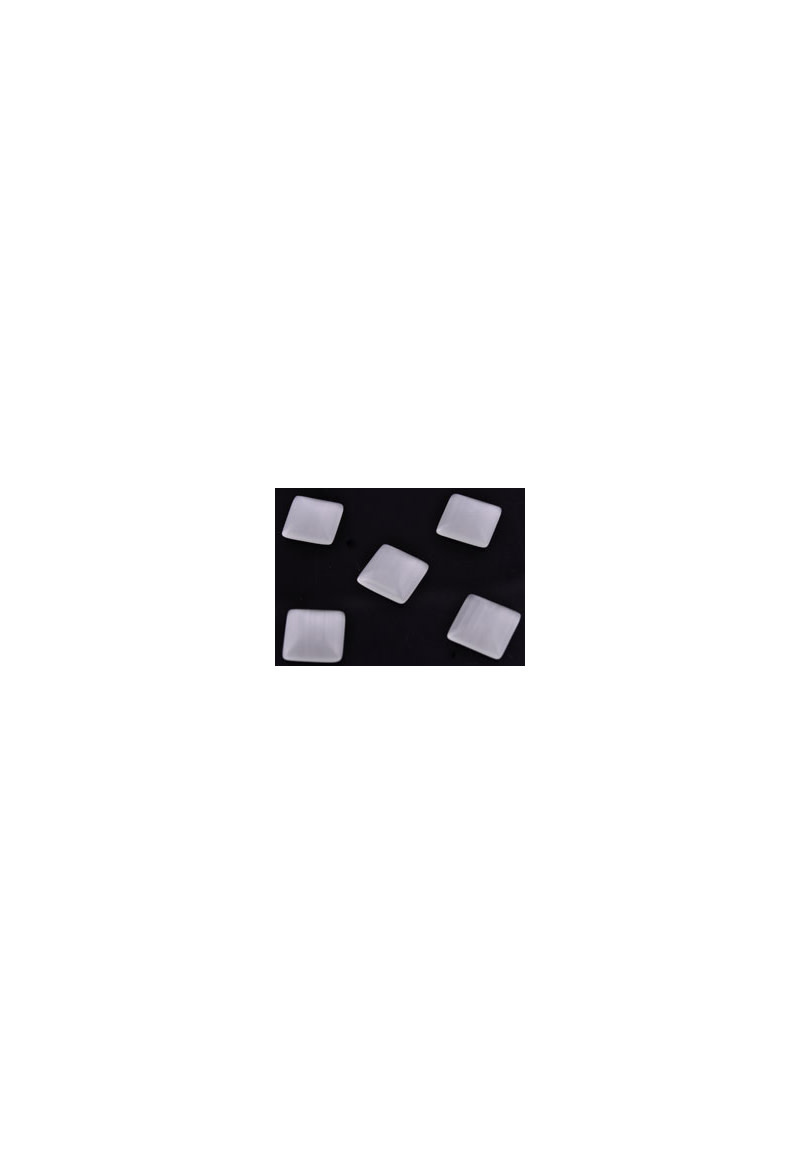 Melkwit Glas cateye plakstenen/cabochon vierkant ± 10mm, ± 3mm dik