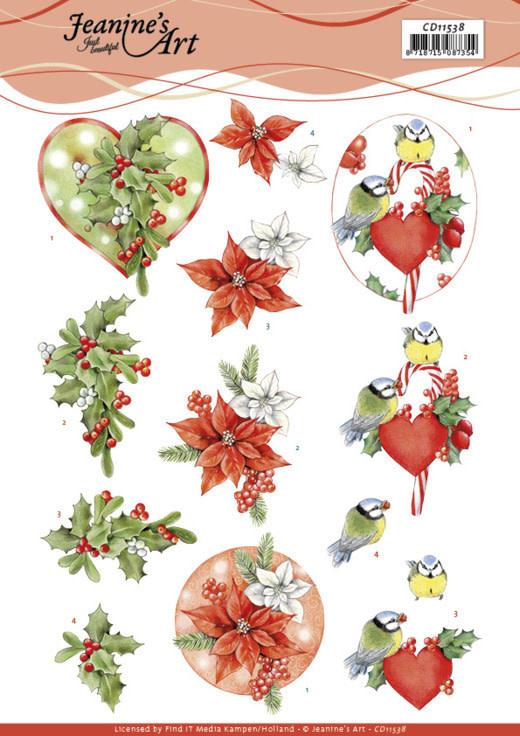 3D Knipvel - Jeanine's Art - Red Holly Berries