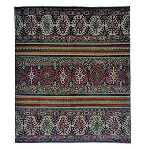 shal Hand knotted 9'7 x 8'1 wool kazak area rug 294x248 cm Oriental carpet