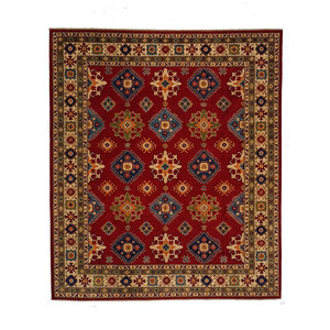 shal Hand knotted  10' x 8'1 wool kazak area rug  306x247cm  Oriental carpet