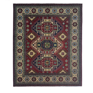 Hand knotted  10' x 8'2  wool kazak area rug   305x249 cm  Oriental carpet