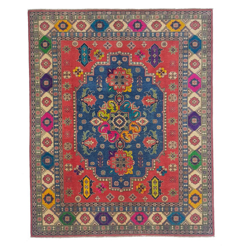 Hand knotted  9'11 x 8'  wool kazak area rug  304x244cm   Oriental carpet