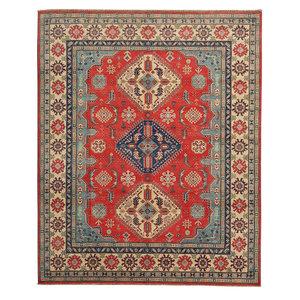 Hand knotted 9'11 x 8'  wool kazak area rug 304x247 cm  Oriental carpet