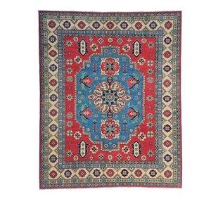 Hand knotted 9'7x 8'  wool kazak area rug 297x249 cm  Oriental carpet