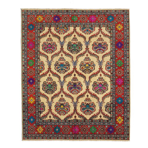 Hand knotted  9'5 x 8' wool kazak area rug  290x249 cm   Oriental carpet