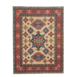 Hand knotted  9'8 x 8' wool kazak area rug 300x251 cm  Oriental carpet