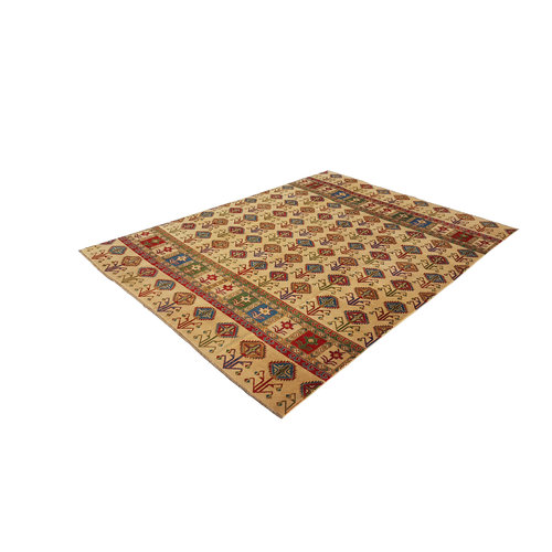 shal Hand knotted  11'x 8' wool kazak area rug  344x252 cm  Oriental carpet