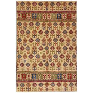 Hand knotted  11'7x 8' wool kazak area rug  357x258 cm  Oriental carpet