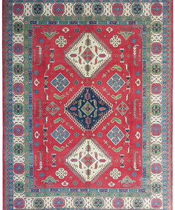 shal Hand knotted  11'6x 9' wool kazak area rug  354x281   cm  Oriental carpet