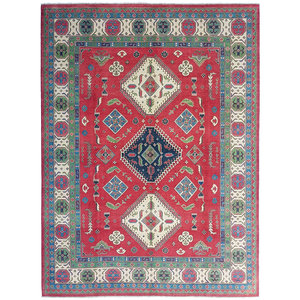 shal Hand knotted  11'6x 9' wool kazak area rug  354x281   cm  Oriental carpet