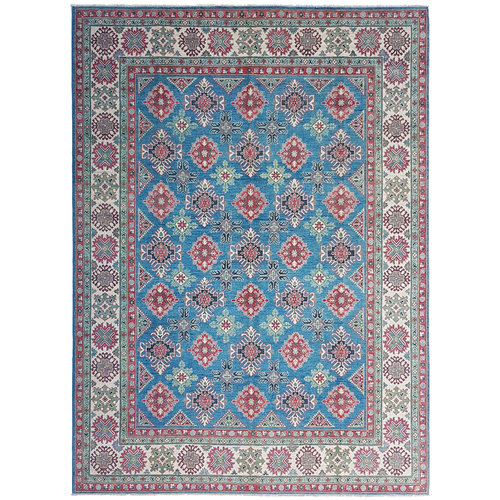 Hand knotted  11'7x9' wool kazak area rug  359x275 cm  Oriental carpet