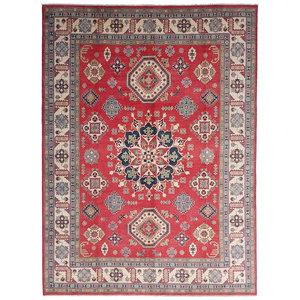 shal Hand knotted  12'x 9' wool kazak area rug  376x278 cm  Oriental carpet