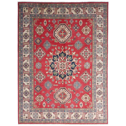 shal Hand knotted  12'x 9' wool kazak area rug  376x278 cm  Oriental carpet