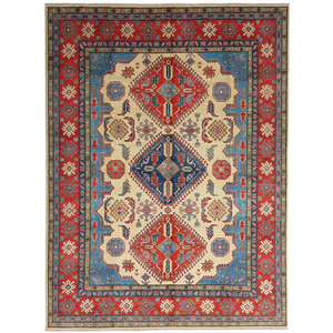 shal Hand knotted  11'8x 9' wool kazak area rug  360x278 cm  Oriental carpet