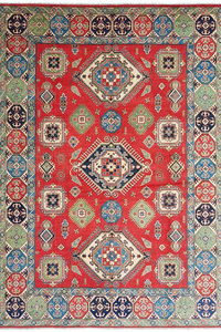 shal Hand knotted  11'8x 9' wool kazak area rug  360x276 cm  Oriental carpet