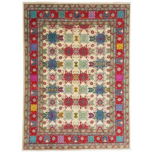 shal Hand knotted  11'8x 9' wool kazak area rug  362x279 cm  Oriental carpet