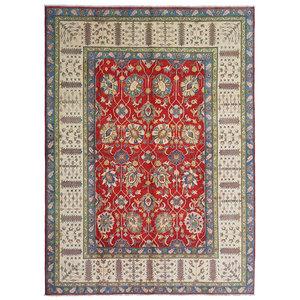 Hand knotted  11'5x 9' wool kazak area rug  353x277  cm  Oriental carpet
