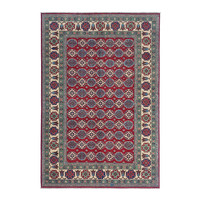 Hand knotted  9'x6'5 wool kazak area rug  286x200 cm  Oriental carpet