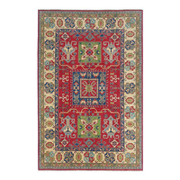 Hand knotted  8'9x6  wool kazak area rug 274x185 cm  Oriental carpet