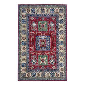 Hand knotted  9'7x6'5 wool kazak area rug  297x198 cm  Oriental carpet