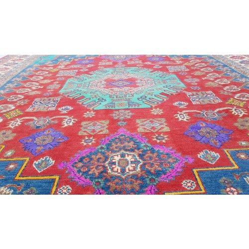 Handgeknoopt kazak tapijt 296x249 cm  oosters kleed vloerkleed