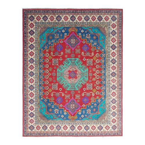 Hand knotted 9'7 x 8'  wool kazak area rug 296x249 cm  Oriental carpet