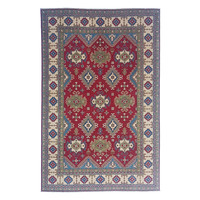 Hand knotted  9'7x 6'5 wool kazak area rug  296x200 cm   Oriental carpet