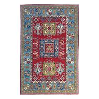 Hand knotted  9'x6'  wool kazak area rug 275x185 cm  Oriental carpet