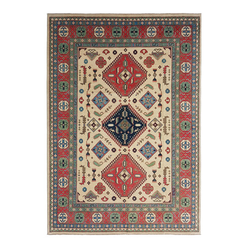 shal Hand knotted  11'8x 8'9 wool kazak area rug  362x273 cm  Oriental carpet